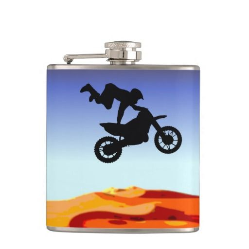 http://www.zazzle.com.au/dirt_bike_stunt_rider_hip_flasks-256663634114197275?rf=238523064604734277 Dirt Bike Stunt Rider Hip Flasks - This flask features a silhouette of a man in the sky on his dirt bike doing a stunt in the desert.