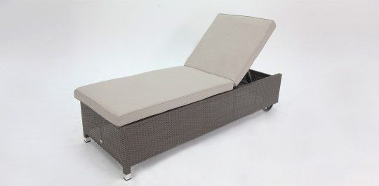 Sundowner Sunlounge with wheels Grey Brush/Ivory