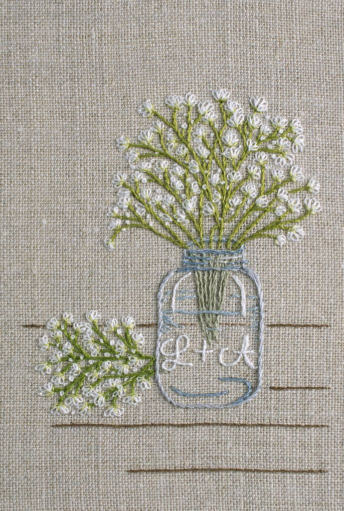 Embroidered motif from a wedding invitation. 3.25 inches wide x 4 inches high. Strathaven linen and DMC floss. April 2017.