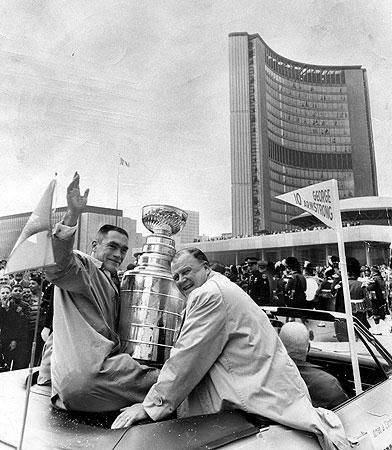 The Maple Leafs' captain George Armstrong & owner Harold Ballard, Stanley Cup parade in Toronto, 1967