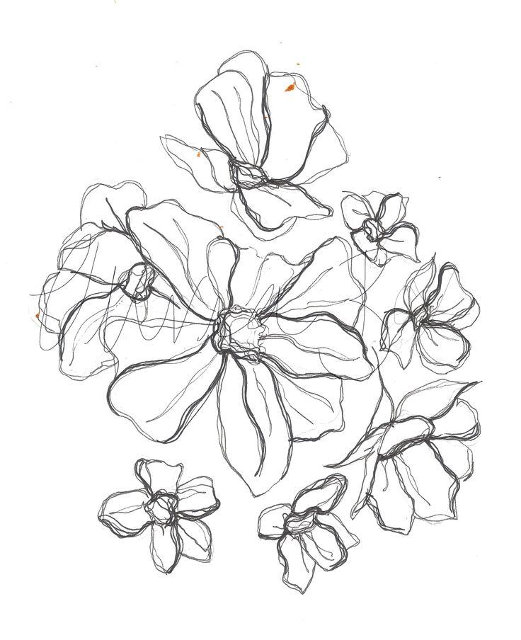 Line Art Images Of Flowers : Flower line drawing olivia box florals pinterest