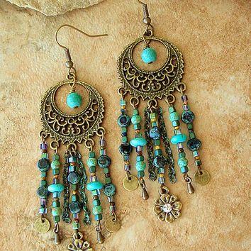 Boho Chandelier Earrings, Turquoise Earrings,  Hippie Chic Boho Earrings, Gypsy Earrings, Original Handmade Bohemian Jewelry by Kaye Kraus