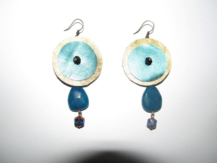 Handmade earrings (1 pair)  Made with leathers, glass beads, semiprecious teal jade stones and antiallergic hangings.