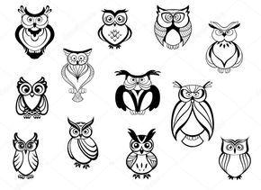 Bonito conjunto de corujas e corujinhas isolado no fundo branco em estilo cartoon, para tatuagem, desenho de animais selvagens e mascote