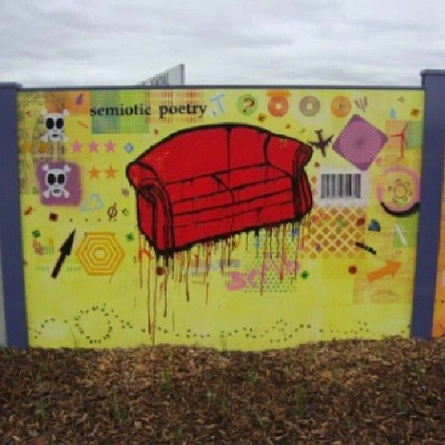 2010 Jan Cleveringa Semiotic Poetry in the Suburbs, 30m x 2m (section) #couch #sofa #paint #painting #colour #cleveringa #mural #contemporary #original #originalart #art #artist #streetart