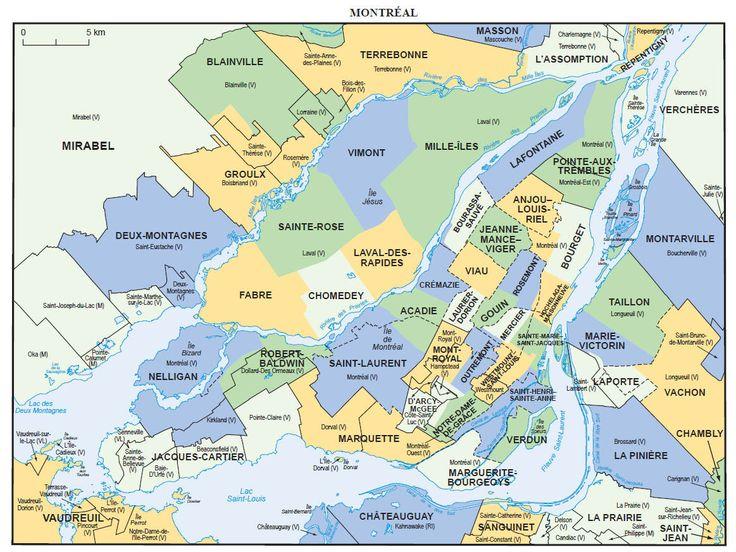 Montréal et ses environs sur la carte électorale du Québec.
