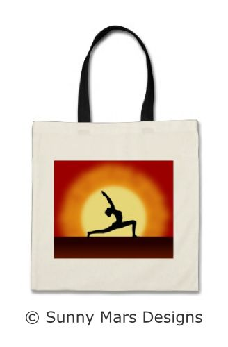 Yoga Pose Silhouette Sunrise Budget Tote Bags by sunnymars of SunnyMarsDesigns in association with Zazzle. This cool, vibrant, red and yellow custom budget tote bag features a silhouette of a woman practicing yoga with the sunrise in the background. Concept for health, fitness, peace and tranquility. Perfect bag for yogis, yoga instructors, yoga teachers, yoga lovers or yoga students. You can also use it as a promotional tote bag by adding details of your yoga studio or yoga classes.