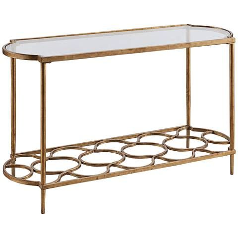 Bancroft Glass-Top Gold Leaf Rounded Rectangle Sofa Table