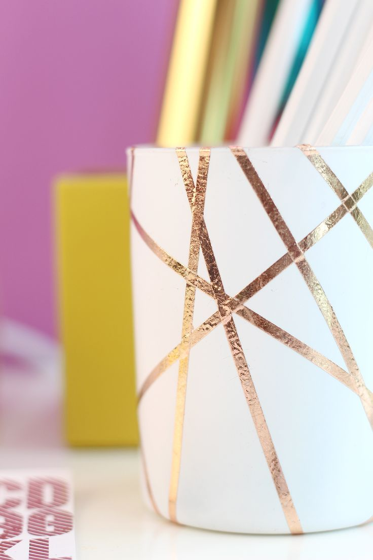 Easy DIY Rose Gold Foiled Pencil Cup - Damask Love
