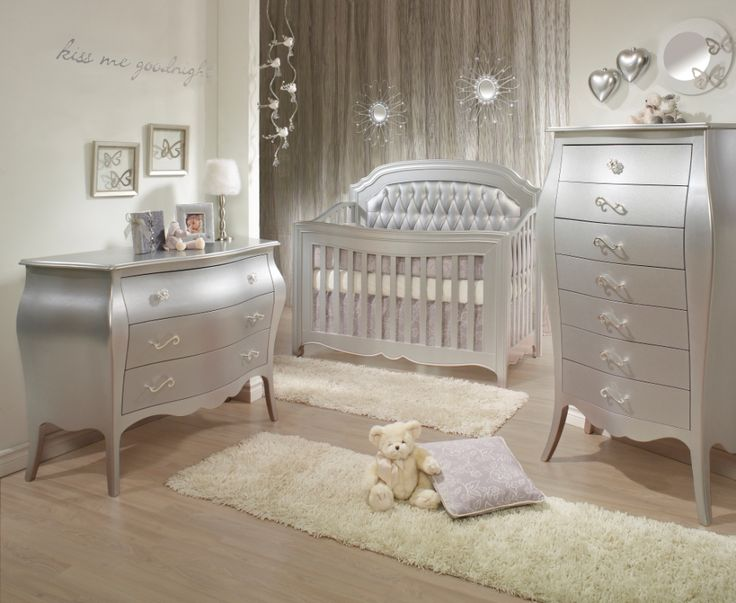 elegant baby furniture. Natart Alexa 3 Piece Nursery Set In Silver - Crib, Drawer Dresser, And Lingerie Chest Sets Baby Furniture Elegant M