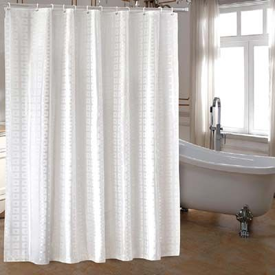 Ufaitheart High Quality Extra Long Fabric Shower Curtain 72 X 84 Inch Heavy Duty For Luxury Hotel Pure White