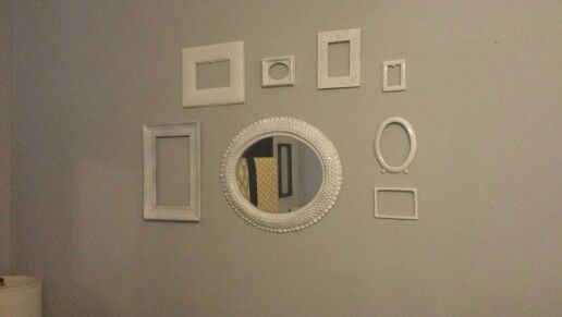 Mirror and empty frame grouping in my yellow, white,black, and gray ...