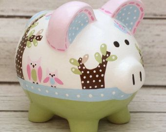Personalized Piggy bank Blue Elephants artisan by Alphadorable