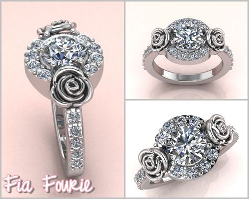Fia Fourie Jewellery | Halo diamnod ring with roses
