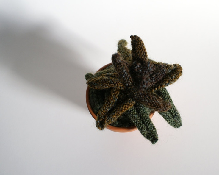 Knitted Plant with Purple, Rust and Green Leaves. $48.00, via Etsy.