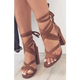 Preen Heels Tan-BILLINI SHOESDescriptionLace-up design with laces that wrap around the ankle, a block heel and cushion inner sole.Heel height is 10.5cmFabricationMan made upper, lining