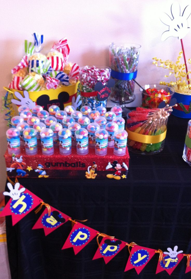 Mickey Mouse Clubhouse First Birthday - Mickey Mouse Gumball Favor Push Pops - Candy Buffet Table - by Experience Creativitee.                                       Check out our Etsy shop www.Etsy.com/shop/experiencecreativite