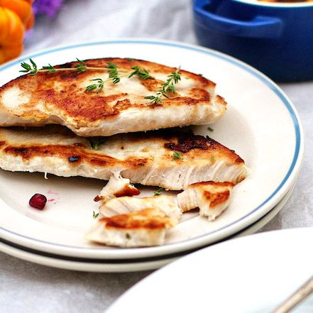 Healthy, lean turkey breast cutlets pan seared. Small portion cooking for Thanksgiving and Christmas holiday meals. Paleo diet family lunch, dinner.