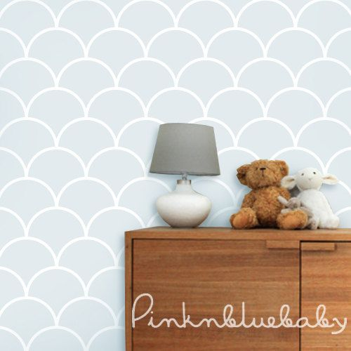 Fish Scale Blue Removable Wallpaper by pinknbluebaby on Etsy, $35.00