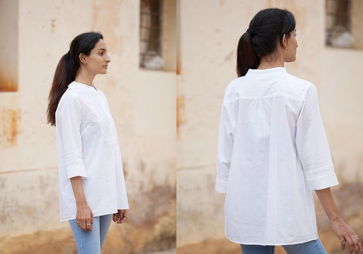 Modern Chikankari - Clear White Shirt by Manvi - PC12162 - 2