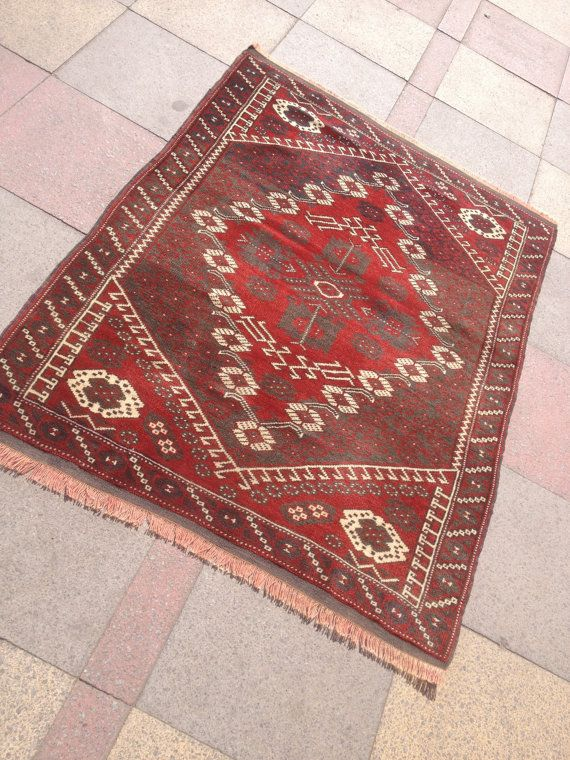 "Vintage west anatolian Bergama hand wowen wool on wool carpet rug 42,5 "" by 53,9"" inches (108cm by 137cm)"