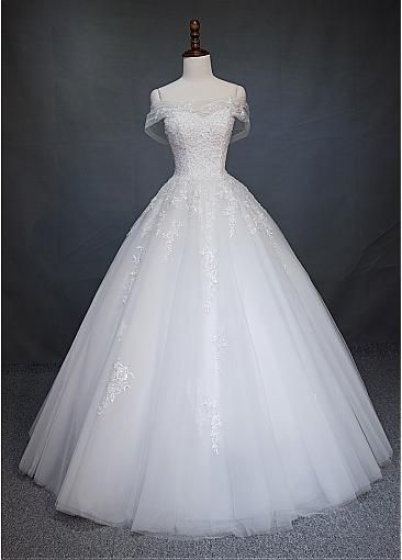 Magbridal Enticing Tulle Off-the-shoulder Neckline A-Line Marriage ceremony Costume With Beaded Lace Appliques