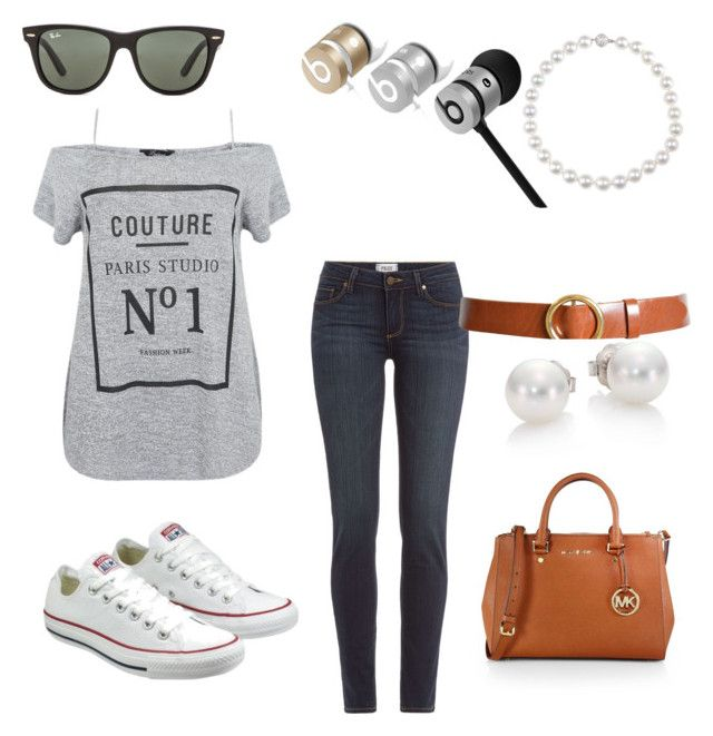 """Understatement Pearls"" by monja-blansdorf on Polyvore featuring Mode, Paige Denim, Converse, Beats by Dr. Dre, Ray-Ban, Frame Denim, MICHAEL Michael Kors und Mikimoto"