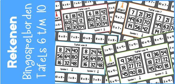 Rekenen | Tafels 6 t/m 10 oefenen met een bingo spelbord! - Juf Shanna