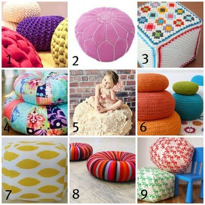 "DIY ""Poufs"" for kid's room. Looks fun."