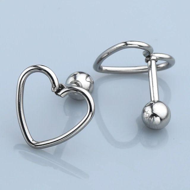 "Pair 16G Steel Love Heart 1/4"" Barbell Ear Tragus Cartilage Helix Stud Earrings"