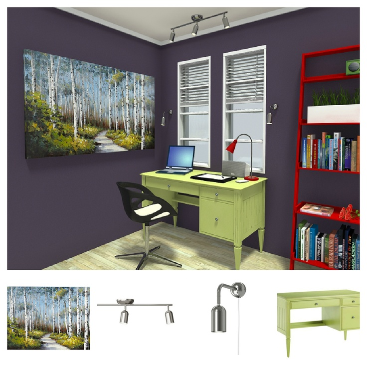 new items furniture decor in this 3d floor plan for a home office are from ethan allen ikea. Black Bedroom Furniture Sets. Home Design Ideas