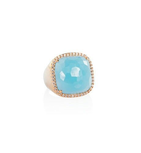 Beautiful chalcedony #ring, #sterling #silver finished in 18kt rose #gold framed with bright CZ. Available online at M&O Australia (follow the link www.moroognissanti.com.au) or at your trusted jewellers in #Melbourne. AUD505.   Only few pieces available.  #elegant #lifestyle and #luxury. #hautecouture of #jewellery #madeinitaly for your daily #inspiration in #Melbournecity.