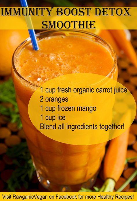 immunity boost smoothie carrot juice, oranges, mangoes