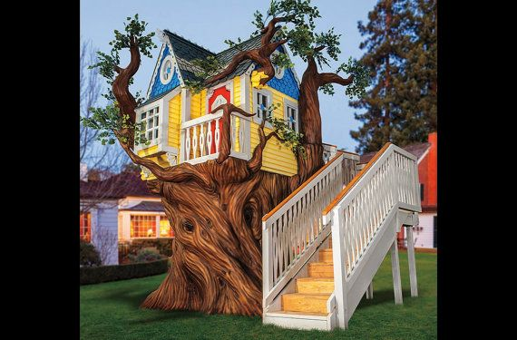 Victorian Tree House or Playhouse with Artificial Tree - MOST. EPIC. TREEHOUSE. EVER!!!!!