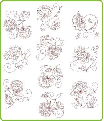 Jacobean redwork patterns -