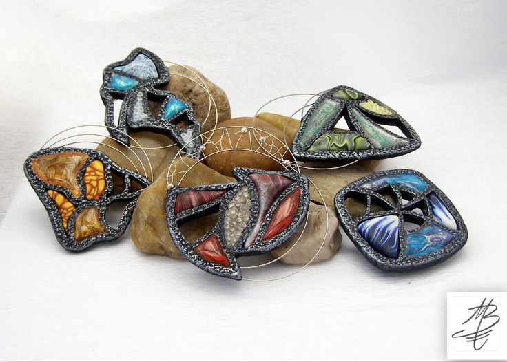 polymer jewelry - brože vystavované v Galerii Artesilver - Broží léto 2015