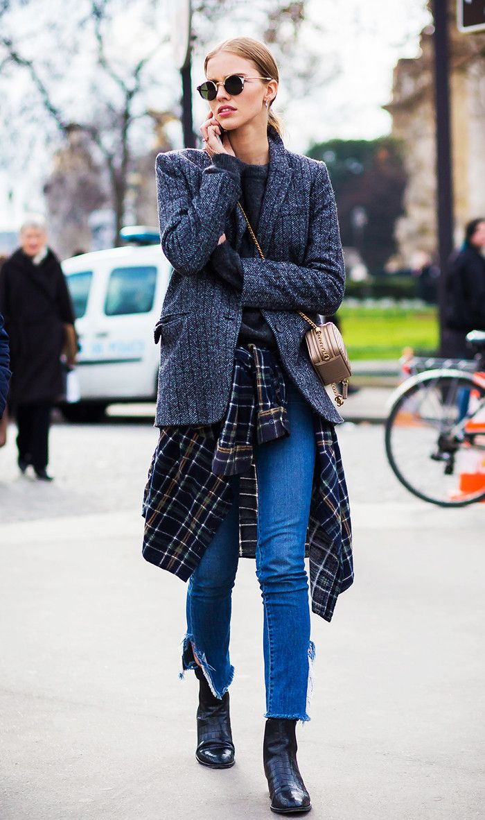 Tie your plaid shirt around your waist to give your look a hint of grunge. (7 Ways to Make Plaid Feel Fresh This Winter via @WhoWhatWear)