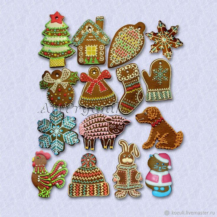 Купить Елочные украшения Северная традиция, Новый год 2018, пряники-козули, Год собаки, Christmas tree ornaments,  New Year 2018, Christmas cookies