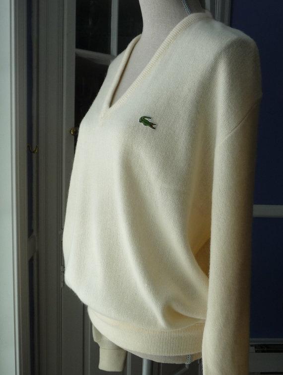 Iconic Vintage 1970s IZOD LACOSTE Sweater. Cream, Off ...