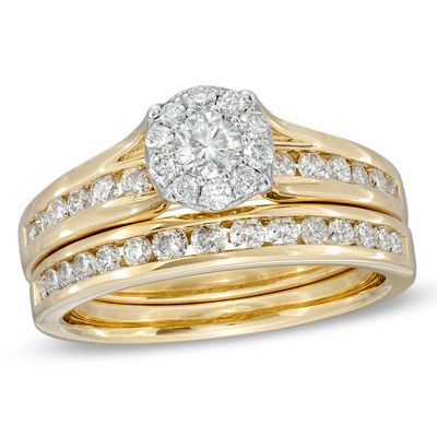 1 CT. T.W. Diamond Cluster Bridal Set in 14K Gold - View All Rings - Zales