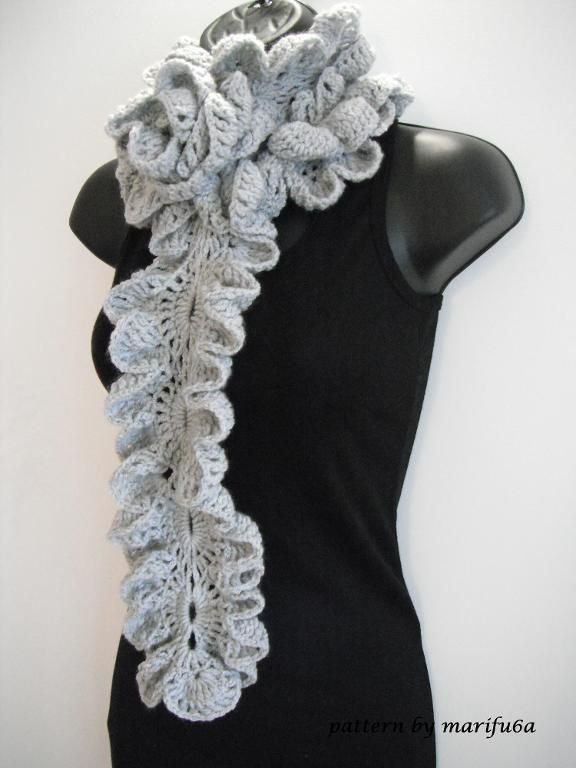 how to Crochet ruffle rose scarf free pattern tutorial for beginners « The Yarn Box