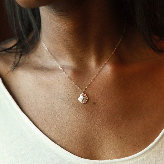 Collier bijoux coquillage coquillage collier par rosegoldnecklaces