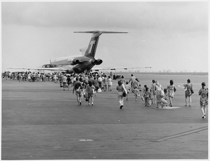 Most of the population was evacuated from Darwin in the aftermath of Cyclone Tracy, 1974.