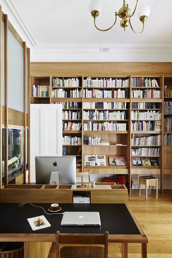 Lovely wood in the bookshelves { New Farm Arbour house by Owen and Vokes and Peters. Photo by Jon Linkins: via The Design Files }