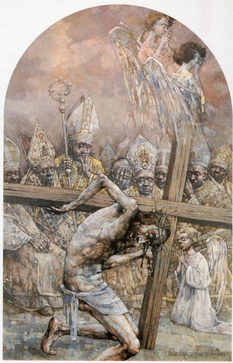 III Estación. Jesús cae por primera vez bajo el peso de la cruz. Gólgota de Jasna Góra, del pintor polaco Jerzy Duda Gracz