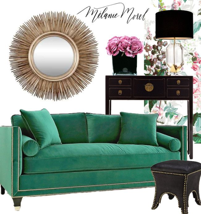 Style your home with pink and green. Pink and green styling moodboard. Read the post: http://www.melaniemorel.com/pink-and-green/ and shop: Sun Mirror £575 from Sweetpea & Willow | Herve Gambs Fuchsia Roses £155 from Amara | Table Lamp £521.25 from Sweetpea & Willow | Black Lacquer Console Table £795 from Orchid | Castanea Wallpaper £148 per roll from House of Hackney | Emerald Green Sofa £1,470 from Sweetpea & Willow | Black Stool £395 from Sweetpea & Willow