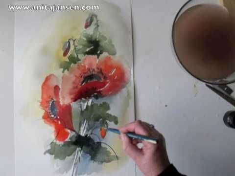 "Watercolour - Aquarelle demo ""Poppies""   Coquelicots  Aquarelle by Anita Jansen. For more info visit   http://anitajansen.com/Video.html"