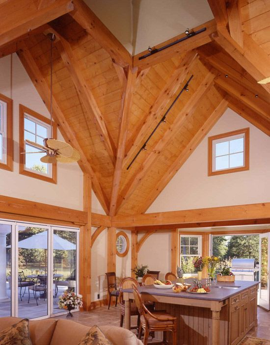 Post and beam kitchen someday pinterest beams for Beams for home