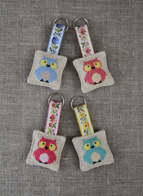 owl cross-stitch keyrings