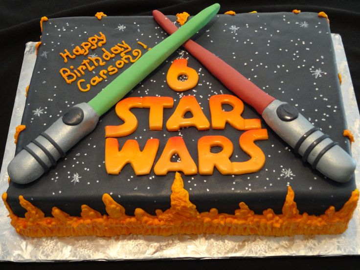"""Who doesn't LOVE Star Wars?!? Even better when it's a delicious half sheet of """"Vanilla Dream"""" and """"Buttermilk Chocolate"""" cake. Covered in fondant and buttercream, it's a completely edible dream come true!! Created by """"Yummy Cakes by Leeanne""""."""